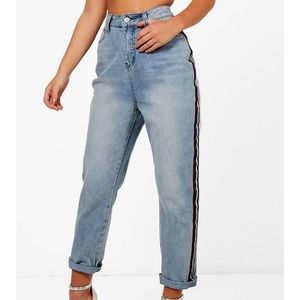 High-waisted mom jeans with striped sides